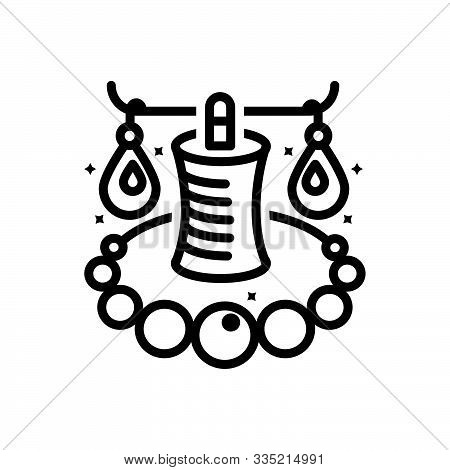 Black Line Icon For Jewellery Ornament Necklaces Adornment Figuration Jewelry
