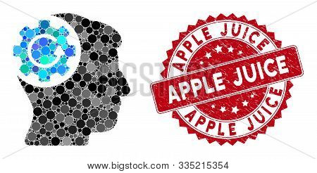 Mosaic Intellect Gear Rotation And Corroded Stamp Watermark With Apple Juice Phrase. Mosaic Vector I