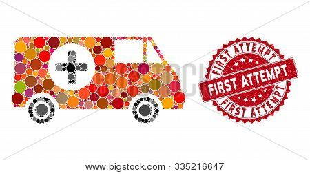 Mosaic Emergency Car And Distressed Stamp Seal With First Attempt Text. Mosaic Vector Is Created Wit
