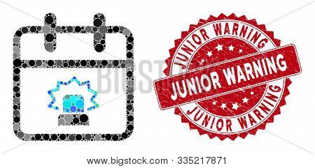 Mosaic Emergency Day And Corroded Stamp Seal With Junior Warning Text. Mosaic Vector Is Composed Wit
