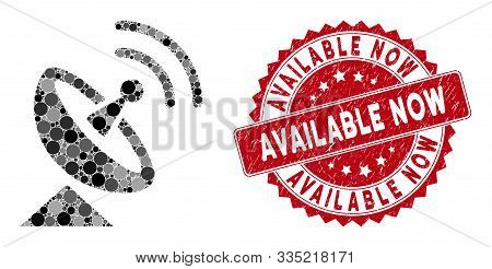 Mosaic Radio Telescope And Grunge Stamp Seal With Available Now Caption. Mosaic Vector Is Created Wi