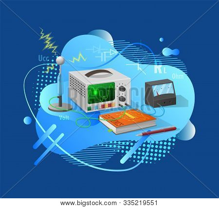 Electronics Equipments With Tube Connection, Researching Laboratory Element, Pencil And Book Decorat