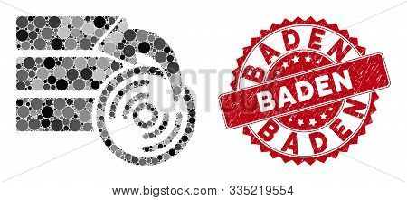 Mosaic Restore Database And Rubber Stamp Seal With Baden Text. Mosaic Vector Is Designed From Restor