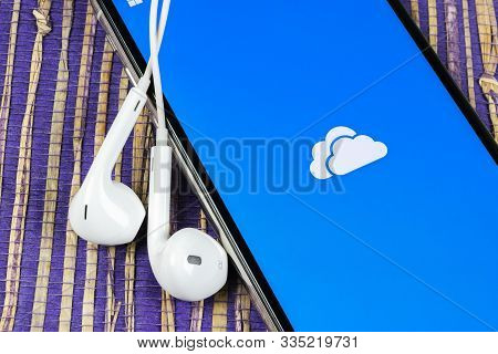 Helsinki, Finland, May 4, 2019: Microsoft Onedrive Application Icon On Apple Iphone X Screen Close-u