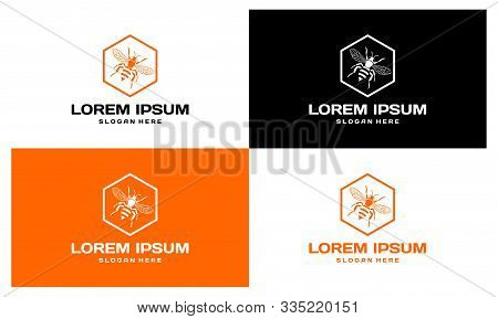 Lorem Ipsum Honeycomb And Bee Logo Set. Honey Logo