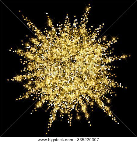 Sparkling Gold Luxury Sparkling Confetti. Scattered Small Gold Particles On Black Background. Alluri