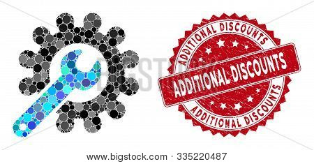 Collage Customization Tools And Rubber Stamp Seal With Additional Discounts Phrase. Mosaic Vector Is