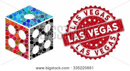 Collage Dice And Grunge Stamp Seal With Las Vegas Phrase. Mosaic Vector Is Designed With Dice Icon A