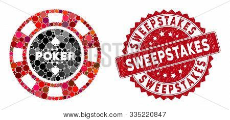 Mosaic Poker Casino Chip And Corroded Stamp Seal With Sweepstakes Caption. Mosaic Vector Is Created