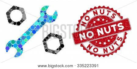 Mosaic Wrench And Nuts And Rubber Stamp Seal With No Nuts Phrase. Mosaic Vector Is Formed With Wrenc
