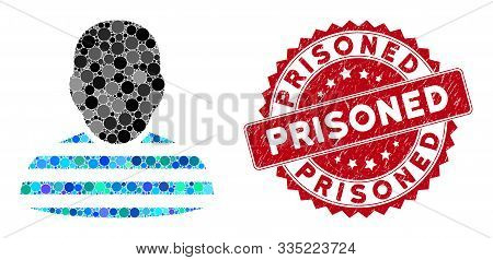 Mosaic Prisoner And Corroded Stamp Seal With Prisoned Phrase. Mosaic Vector Is Designed With Prisone