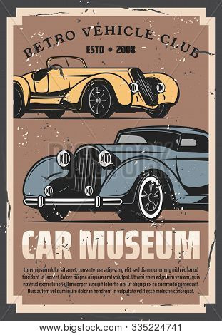 Vintage Old Cars Show And Rarity Motors Museum, Retro Vehicle Vector Posters. Old Timer Transport Re