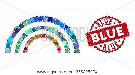 Mosaic Color Arc And Corroded Stamp Seal With Blue Text. Mosaic Vector Is Formed With Color Arc Icon