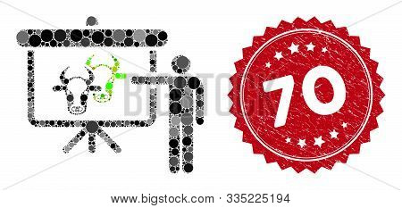 Mosaic Cattle Public Report And Distressed Stamp Seal With 70 Phrase. Mosaic Vector Is Formed With C