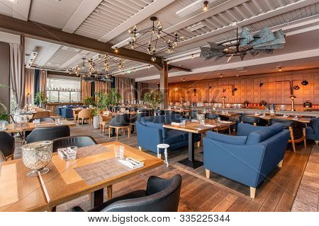 Nizhny Novgorod, Russia - November 09 2018. Gauchobarbq And Grill. Restaurant Interior. Steak House,