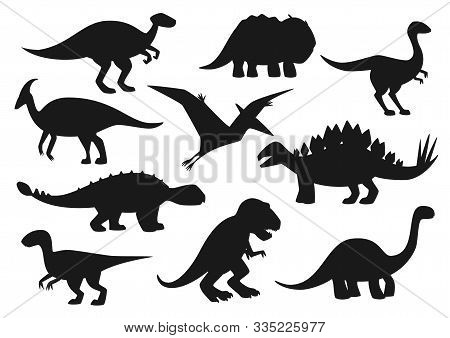 Dinosaurs Icons, Jurassic Park Dino Monsters Silhouettes. Vector Isolate T-rex Tyrannosaurus, Bronto