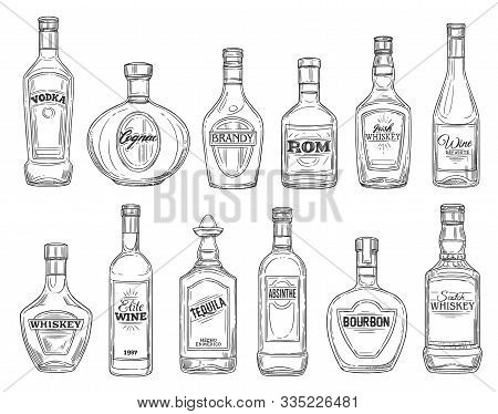 Alcohol Drink Bottles Sketch Icons, Bar Menu Drinks And Beverages. Vector Isolated Bottles Of Premiu