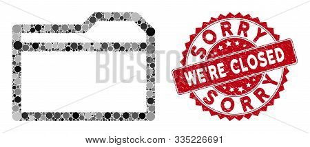 Collage Closed Folder And Rubber Stamp Seal With Sorry Were Closed Text. Mosaic Vector Is Composed W