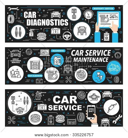 Car Repair Service, Auto Garage And Mechanic Maintenance Thin Line Banners. Vector Vehicles Parts Sh