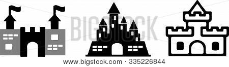 Castle Icon On White Background Strong, Stronghold, Symbol