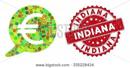 Mosaic Euro Message Balloon And Grunge Stamp Seal With Indiana Phrase. Mosaic Vector Is Designed Wit