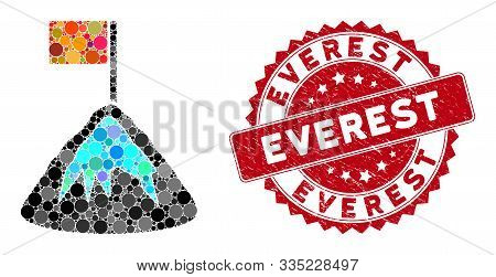 Mosaic Achievement Mountain And Corroded Stamp Seal With Everest Phrase. Mosaic Vector Is Designed W