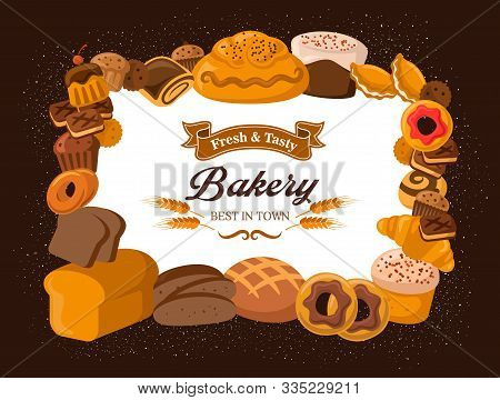 Bakery Shop Bread, Baked Desserts, Cakes And Pastry Cookies. Vector Patisserie Cakes, Croissants And