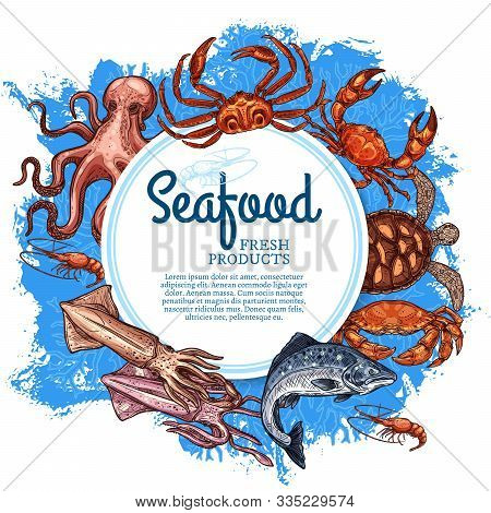 Seafood And Fish Gourmet Restaurant Vintage Retro Poster. Vector Ocean And Sea Fishing Catch, Sea Fo