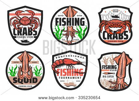 Fishing Club, Seafood Catch Tournament And Fishery Store Icons. Vector Fisher Equipment Tackles, Rod