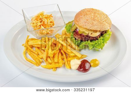 Fast Food Menu. Hamburger, French Fries And Salad. Burger With Beef Stake, Cheese Onion And Pickle.