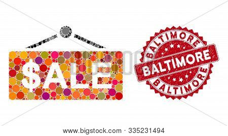 Mosaic Sale Nameplate And Rubber Stamp Seal With Baltimore Phrase. Mosaic Vector Is Created From Sal
