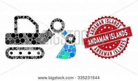Mosaic Excavator And Distressed Stamp Seal With Andaman Islands Phrase. Mosaic Vector Is Created Wit