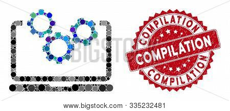 Mosaic Laptop And Gears And Distressed Stamp Seal With Compilation Text. Mosaic Vector Is Composed W