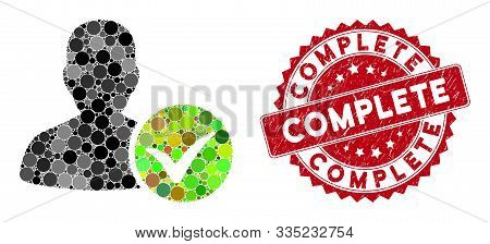 Mosaic Patient Ok And Rubber Stamp Seal With Complete Phrase. Mosaic Vector Is Designed With Patient