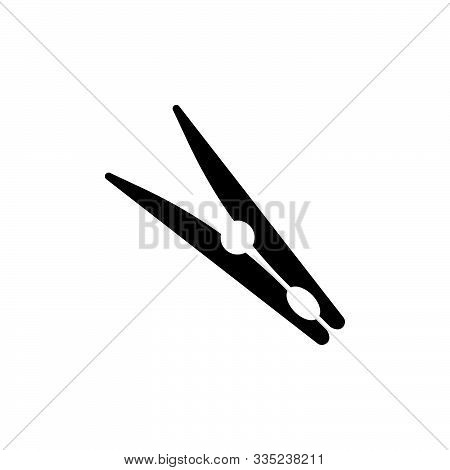 Clothespin, Pin Vector Icon On White Background