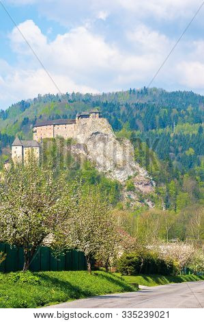 Orava Castle On The High Steep Rock. One Of The Most Beautiful Castles In Slovakia. Beautiful Sunny
