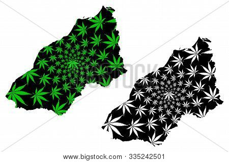Department Of Tumbes (republic Of Peru, Regions Of Peru) Map Is Designed Cannabis Leaf Green And Bla