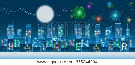 Two In One Set Of Panoramic Merry Christmas And Happy New Year Alphabets On Illuminated Windows Of H