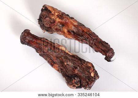 Two Large Dried Oxtails. Could Be Used In Exotic Cuisine Or Natural Chew Treats For Big Dogs. Dehydr