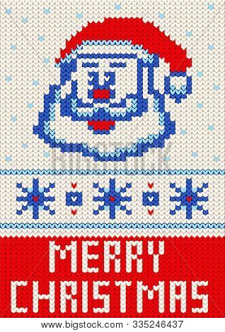 Merry Christmas Knitting Pattern. Merry Christmas And New Year Seamless Knitted Pattern With Letteri