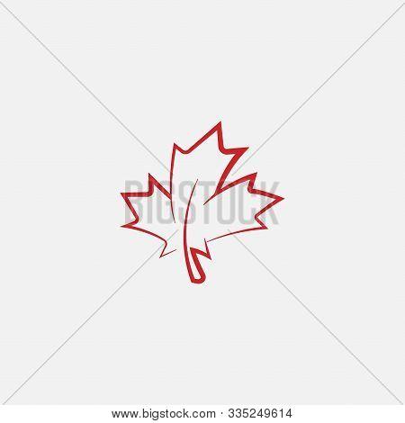 Maple Leaf Logo Template Vector Icon Illustration, Maple Leaf Linear Vector Illustration, Canadian V