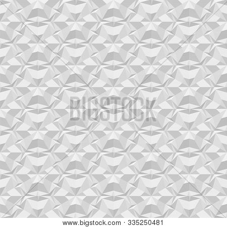 Light Gray Polygonal Seamless Paper Pattern. Repeating Geometric Texture With Extrusion Effect. 3d V
