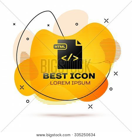 Black Html File Document. Download Html Button Icon Isolated On White Background. Html File Symbol.