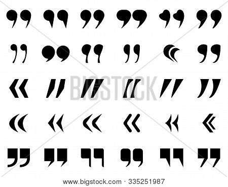 Quotes Marks Silhouette Set. Black Quotation Icon, Definition Punctuation, Double Commas For Text. S