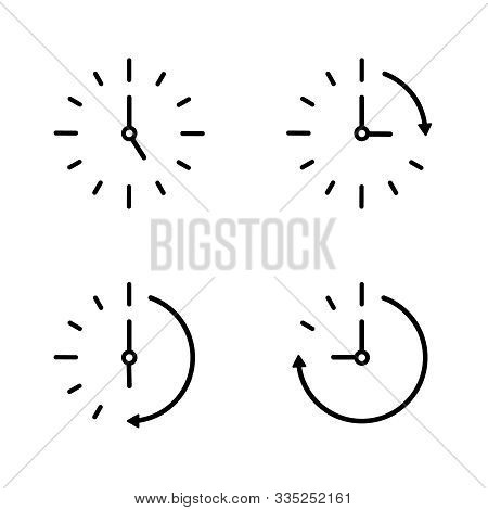 Passage Of Time Icon. Countdown Concept. Clock Ticking Clockwise. Set Icon Of Speed In Time. Round B