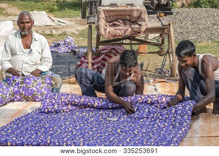 Patna, Bihar, India - November 20, 2019; Some People From The Bihar State Of India Are Making Colorf