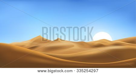 Vector Illustration Of Desert Panorama Landscape With Sand Dunes On Very Hot Sunny Day Summer, Minim