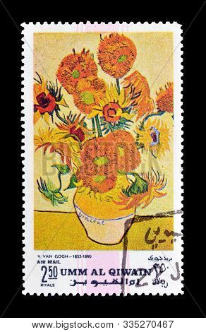 Cancelled Postage Stamp Printed By Umm Al Qiwain, That Shows Painting By Van Gogh, Circa 1971.