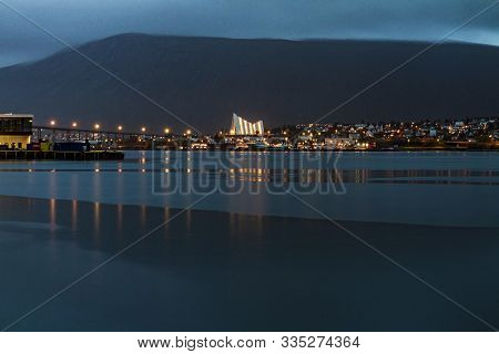 Tromso Fjord View With Its Cathedral In The Back