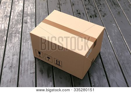 Cardboard Box On Porch Floor In Front Of Entrance Door. Doorstep Parcel Delivery, Free Shipping, And